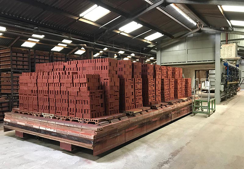 Kiln with stacks of fired bricks