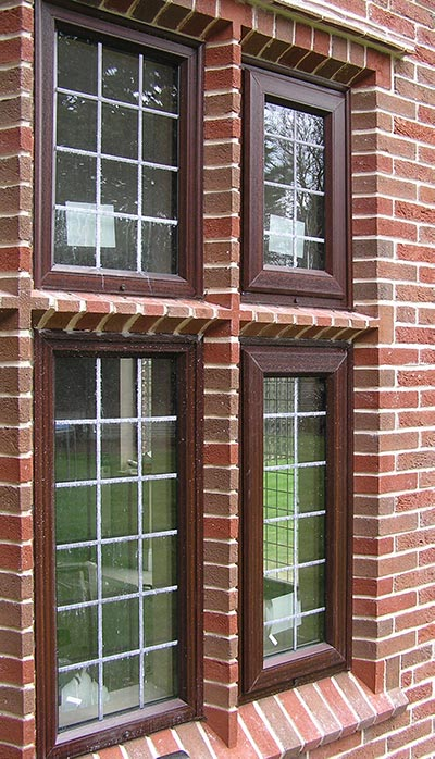close up of window frame showing special shaped bricks