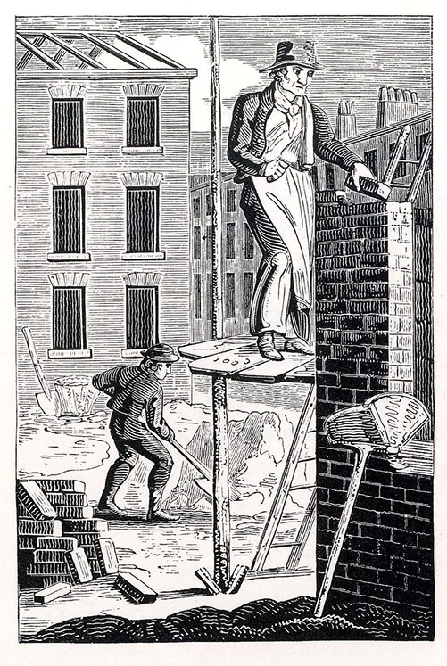 black and white engraving of a bricklayer and labourer